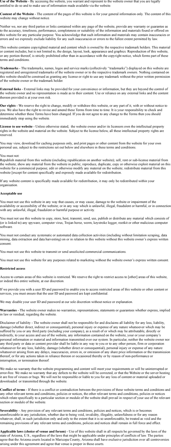 Tulsa, OK Terms and Conditions